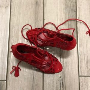 Zara Red Lace Up Sandal